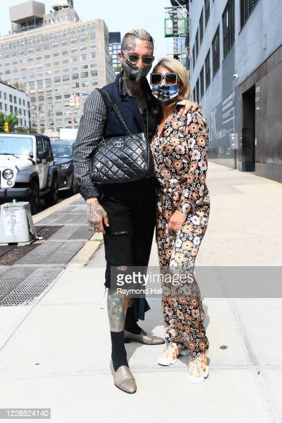 Olga Ferrara and Chris Lavish are seen outside a fashion show on September 14, 2020 in New York City.