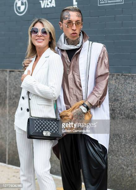 Olga Ferrara and musical artist Chris Lavish are seen arriving to Studio 189 Presents Fashion Our Future 2020 during New York Fashion week at Spring...