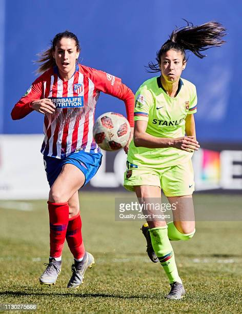 Olga Garcia of Atletico de Madrid competes for the ball with Leila Ouahabi of FC Barcelona during the Copa de la Reina semifinals at Ciudad Deportiva...