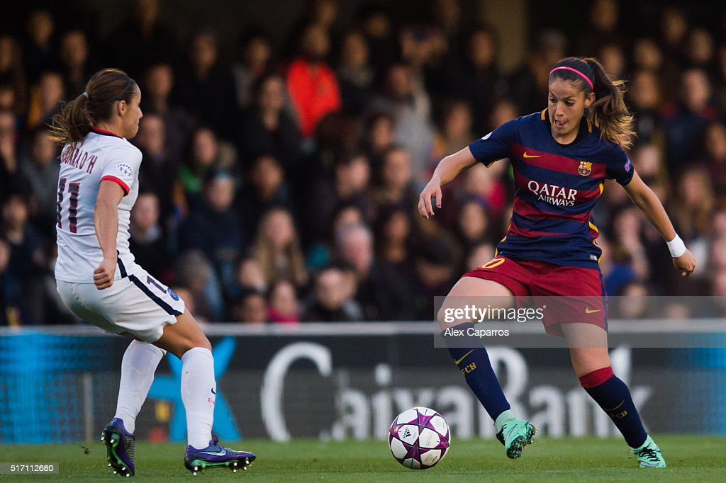 Olga Garcia (R) of FC Barcelona controls the ball next to Jessica Houara-d'Hommeaux of Paris Saint-Germain of Paris Saint-Germain during the UEFA Women's Champions League Quarter Final first leg match between FC Barcelona and Paris Saint-Germain at Miniestadi on March 23, 2016 in Barcelona, Spain.