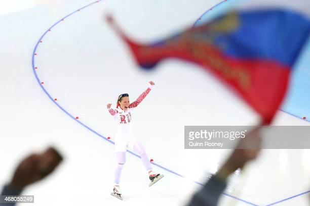 Olga Graf of Russia competes during the Women's 3000m Speed Skating event during day 2 of the Sochi 2014 Winter Olympics at Adler Arena Skating...