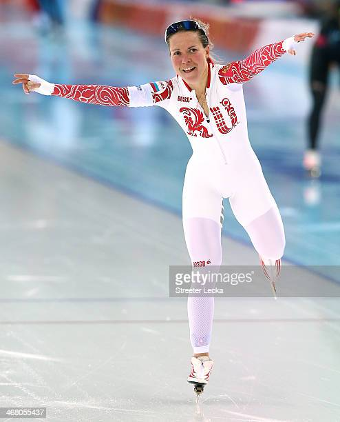 Olga Graf of Russia jubilates during the Women's 3000m Speed Skating event during day 2 of the Sochi 2014 Winter Olympics at Adler Arena Skating...