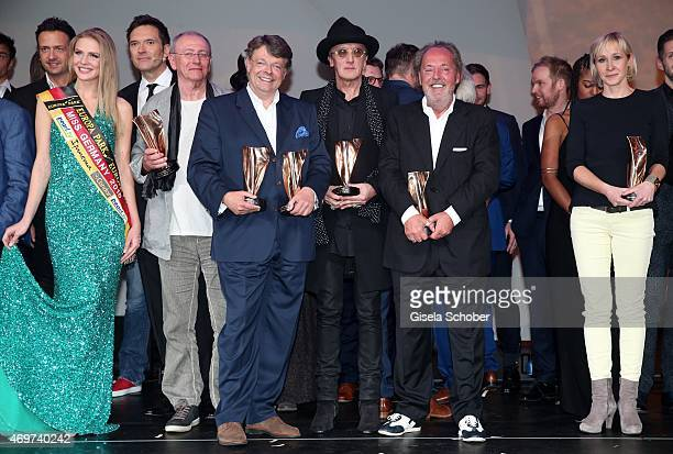 Olga Hoffmann Marius Mueller Westernhagen Peter Rieger Ossy Hoppe during the LEA Live Entertainment Award 2015 at Festhalle Frankfurt on April 14...
