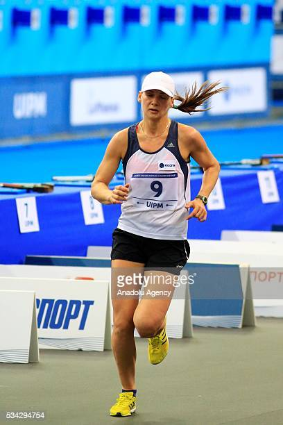 Olga Karmanchikova of Russia is seen during the Combined of the Women Qualifications at the UIPM senior modern pentathlon world championships in...