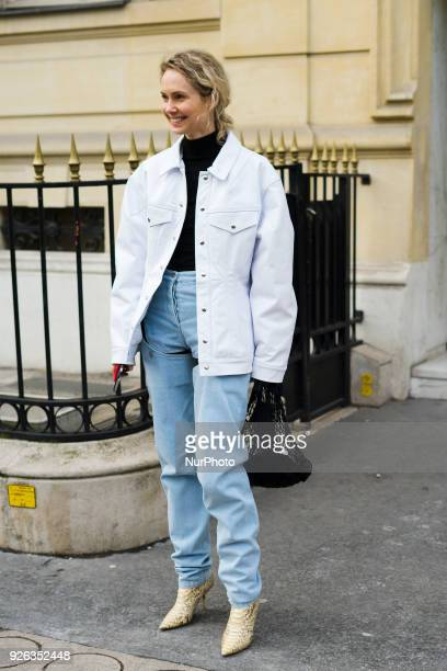 Olga Karput is seen on the street attending Rick Owens during Paris Fashion Week Women's A/W 2018 Collection on March 1 2018 in Paris France