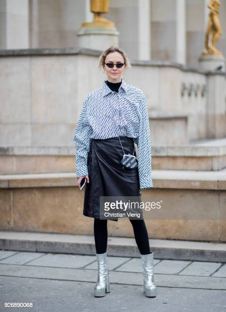 Olga Karput is seen outside Haider Ackermann during Paris Fashion Week Womenswear Fall/Winter 2018/2019 on March 3 2018 in Paris France