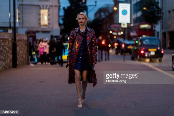 Olga Karput outside Burberry during London Fashion Week September 2017 on September 16 2017 in London England