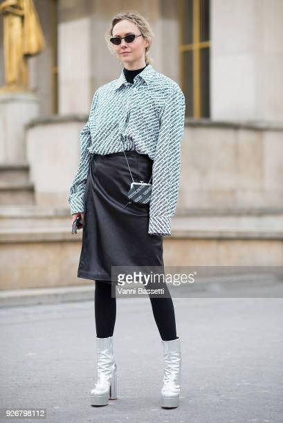Olga Karput poses wearing Vetements after the Haider Ackermann show at the Palais de Chaillot during Paris Fashion week Womenswear FW 18/19 on March...