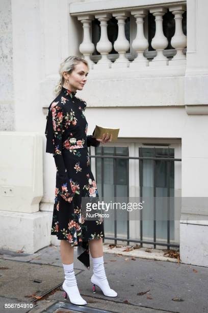 Olga Karput seen in the streets of Paris during the Paris Fashion Week on October 1 2017 in Paris France
