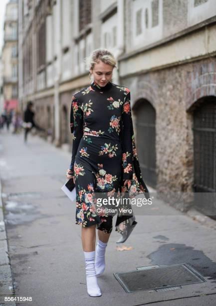 Olga Karput seen outside Valentino during Paris Fashion Week Spring/Summer 2018 on October 1 2017 in Paris France