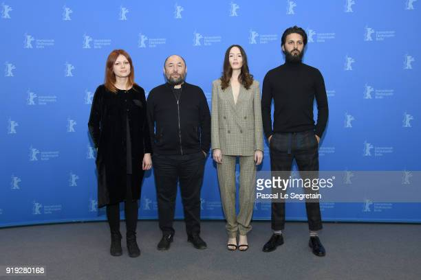 Olga Kharina Timur Bekmambetov Valene Kane and Shazad Latif pose at the 'Profile' photo call during the 68th Berlinale International Film Festival...