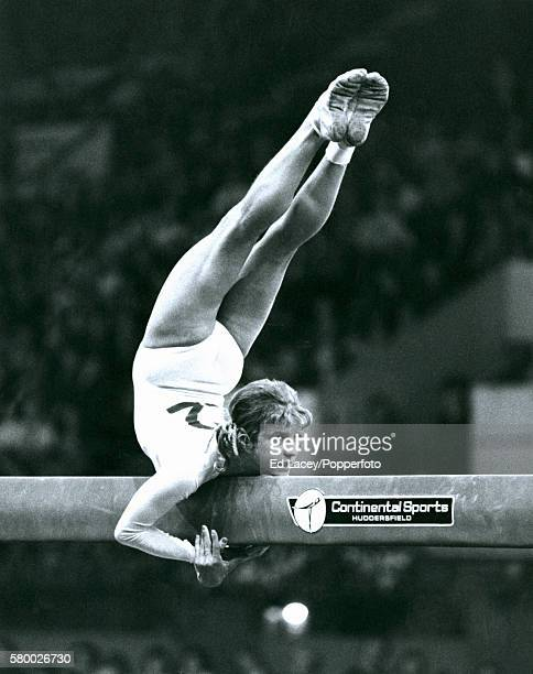 Olga Korbut of USSR in action on the balance beam during the Gymnastics World Cup at Wembley Arena in London 20th October 1975