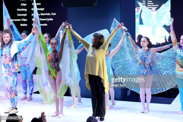 Olga Krespin dance company performs onstage wearing dkDesign Fashion during NYFW Powered By hiTechMODA on February 08, 2020 in New York City.