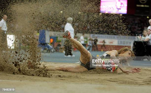 Olga Kucherenko of Russia competes the long jump during the Sparkassen Cup 2008 at the Hanns-Martin Schleyer Hall on February 2, 2008 in Stuttgart,...