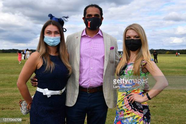 Olga Kulibaba, Brendan Pinto, Victoria McNamee of Lamborghini Sterling are seen at Grandiosity Events 4th annual Polo & Jazz celebrity charity...