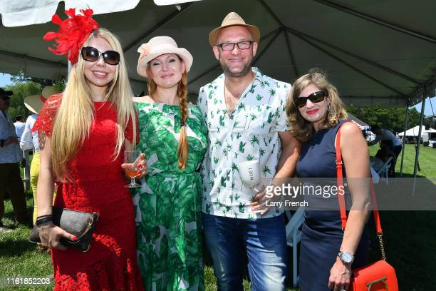 Olga Kulibaba Elena Maximova Sergejs Hripunovs and Rachel Khitrik are seen at Grandiosity Events CigarsGuitars Charity PoloJazz charity event Powered...