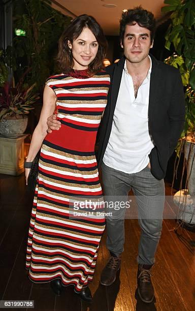 Olga Kurylenko and Ben Cura attend The Fall Magazine launch party in the Rumpus Room at Mondrian London on January 18 2017 in London England