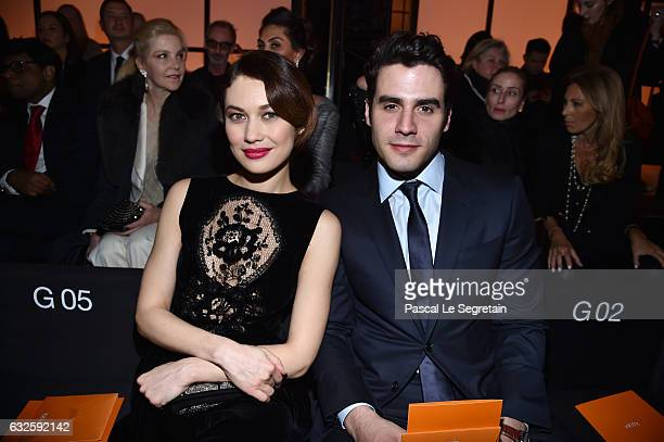Olga Kurylenko and Ben Cura attend the Giorgio Armani Prive Haute Couture Spring Summer 2017 show as part of Paris Fashion Week on January 24 2017 in...