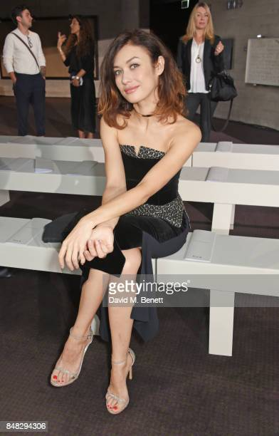 Olga Kurylenko attends the Roland Mouret SS18 catwalk show during London Fashion Week September 2017 at The National Theatre on September 17 2017 in...
