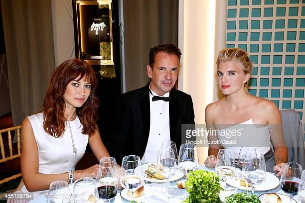 Olga Kurylenko CEO Boucheron Pierre Bouissou and Cecile Cassel attend the 27th 'Biennale des Antiquaires' Pre Opening at Le Grand Palais on September...