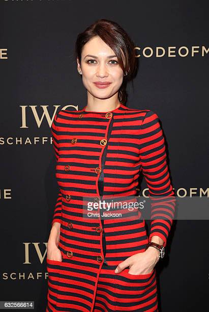 Olga Kurylenko visits the IWC booth during the launch of the Da Vinci Novelties from the Swiss luxury watch manufacturer IWC Schaffhausen at the...