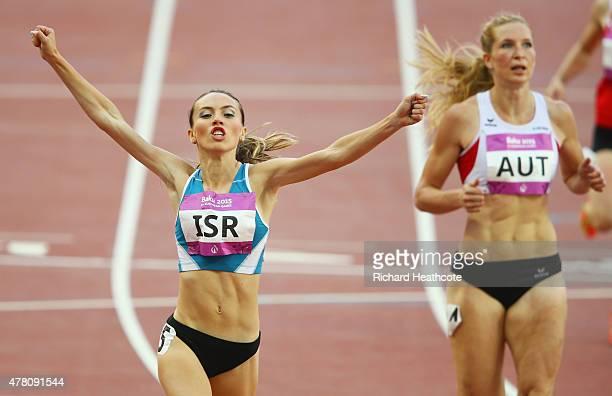 Olga Lenskay of Israel celebrates as she wins the Women's 200 metres heat two during day ten of the Baku 2015 European Games at the Olympic Stadium...