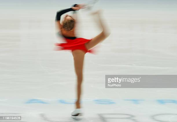 Olga Mikutina of Austria in action during Ladies Free Skating at ISU European Figure Skating Championships in Steiermarkhalle Graz Austria on January...