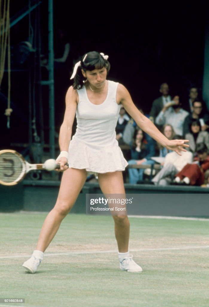 Olga Morozova of the Soviet Union in action against Billie Jean King of the USA (not in picture) in their Women's Quarter-Final match during the Wimbledon Lawn Tennis Championships at the All England Lawn Tennis and Croquet Club, circa June, 1974 in London, England.