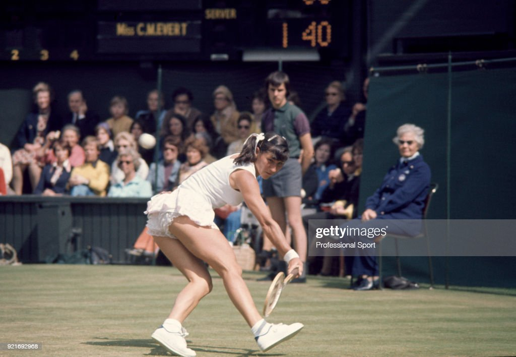 Olga Morozova of the Soviet Union in action against Chris Evert of the USA (not in picture) in the Women's Singles Final of the Wimbledon Lawn Tennis Championships at the All England Lawn Tennis and Croquet Club on July 6, 1974 in London, England.