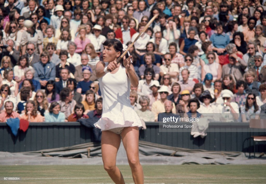 Olga Morozova of the Soviet Union in action during the Wimbledon Lawn Tennis Championships at the All England Lawn Tennis and Croquet Club, circa June, 1974 in London, England.