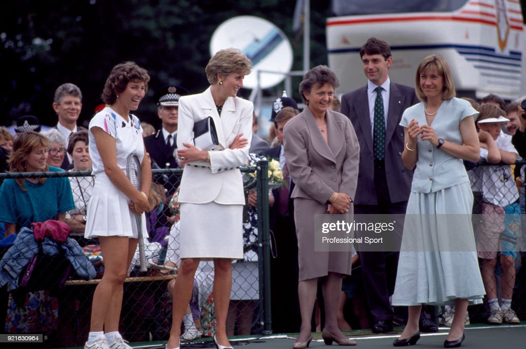 Olga Morozova of the Soviet Union, Princess Diana, retired British players Sue Mappin and Debbie Jevans during the Federation Cup in Nottingham, England circa July 1991.
