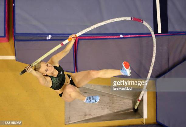 Olga Mullina of Former Russia competes during the Women's Pole Vault during the European Athletics Indoor Championships Day Two at the Emirates Arena...