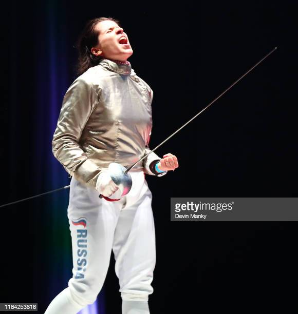 Olga Nikitina of Russia celebrates a win over Bianca Pascu of Romania during the top 8 round of competition at the Women's Sabre World Cup on...