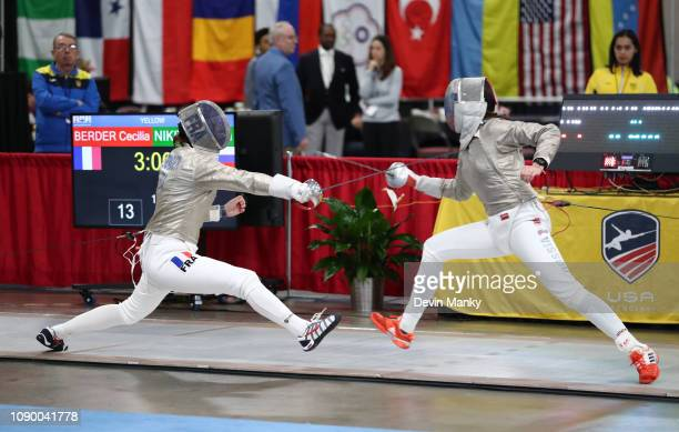 Olga Nikitina of Russia fences Cecilia Berder of France in the final rounds at the Women's Sabre World Cup on January 26, 2019 at the Salt Palace...