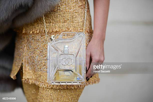Olga Novozhilova poses wearing a Chanel total look during day 3 of Paris Haute Couture Spring Summer 2015 on January 27 2015 in Paris France