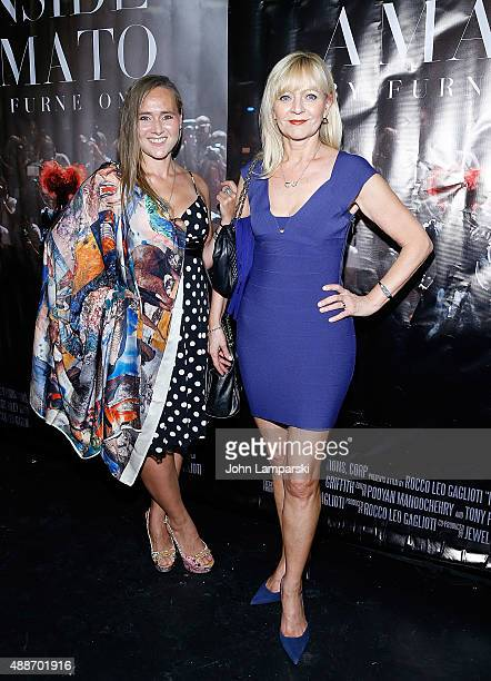 Olga Papkovitch and Karynne Summaro attends 'Inside Amato' New York premiere at Liberty Theater on September 16 2015 in New York City
