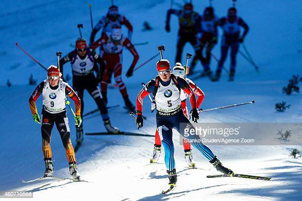 Olga Podchufarova of Russia competes during the IBU Biathlon World Cup Men's and Women's Pursuit on December 20 2014 in Pokljuka Slovenia