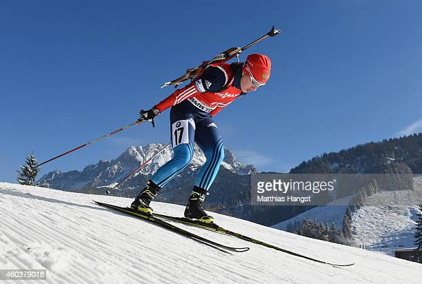 Olga Podchufarova of Russia competes during the women's 75 km sprint event during the IBU Biathlon World Cup on December 12 2014 in Hochfilzen Austria