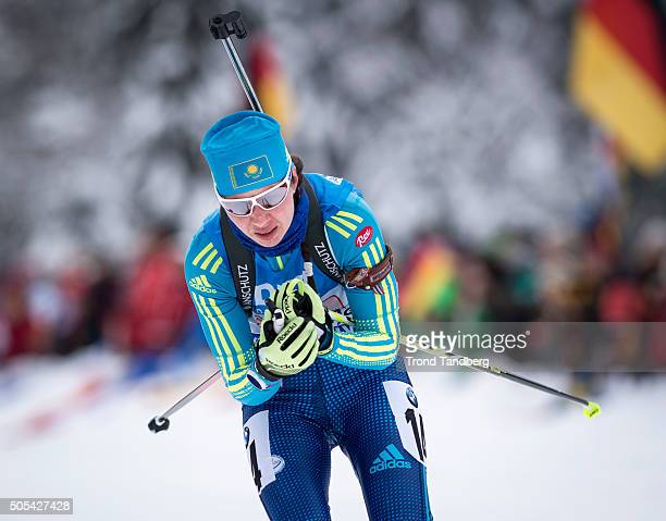 Olga Poltoranina of Kazakhstan in action during the Women 4 x 5 km relay Biathlon race at the IBU Biathlon World Cup Ruhpolding on January 17 2016 in...