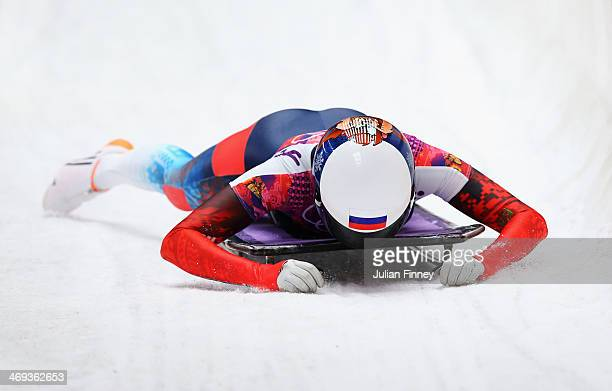 Olga Potylitsina of Russia reacts after competing a run during the Women's Skeleton on Day 7 of the Sochi 2014 Winter Olympics at Sliding Center...