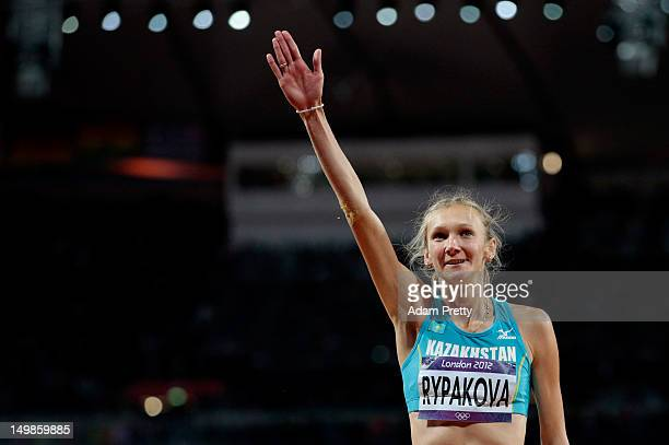 Olga Rypakova of Kazakhstan celebrates winning the gold medal after the Women's Triple Jump final on Day 9 of the London 2012 Olympic Games at the...