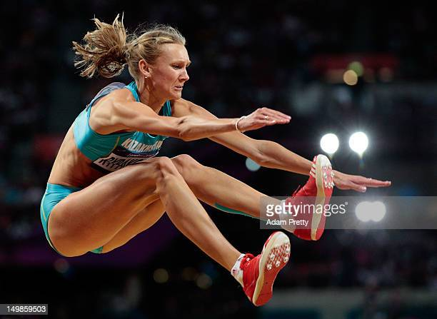 Olga Rypakova of Kazakhstan compete in the Women's Triple Jump final on Day 9 of the London 2012 Olympic Games at the Olympic Stadium on August 5...