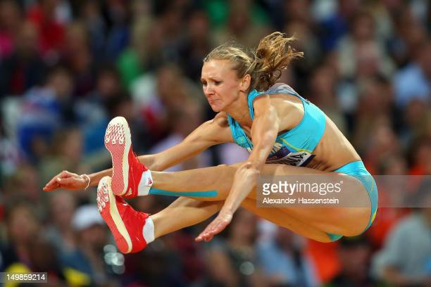 Olga Rypakova of Kazakhstan competes in the Women's Triple Jump Final on Day 9 of the London 2012 Olympic Games at the Olympic Stadium on August 5...