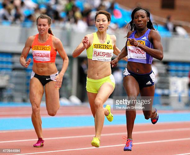 Olga Safronova of Kazakhstan Chisato Fukushima of Japan and Tiffany Townsend of USA compete in Women's 200m during the Seiko Golden Grand Prix Tokyo...