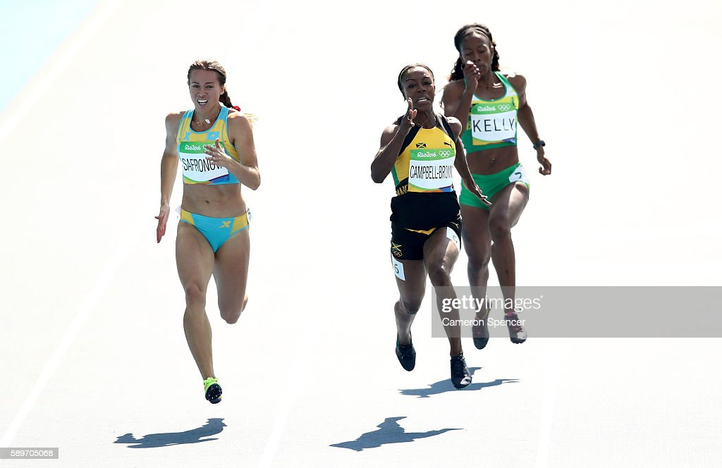 Olga Safronova of Kazakhstan, Veronica Campbell-Brown of Jamaica and Ashley Kelly of Virgin Islands, British compete in round one of the Women's 200m on Day 10 of the Rio 2016 Olympic Games at the Olympic Stadium on August 15, 2016 in Rio de Janeiro, Brazil.