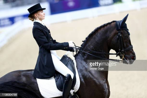 Olga Safronova riding Sandro D Amour during the FEI World Cup Dressage Grand Prix on April 5 2019 in Gothenburg Sweden