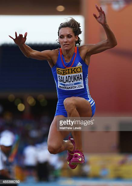Olga Saladukha of Europe in action during the Womens Triple Jump Final during day one of the IAAF Continental Cup at the Stade de Marrakech on...