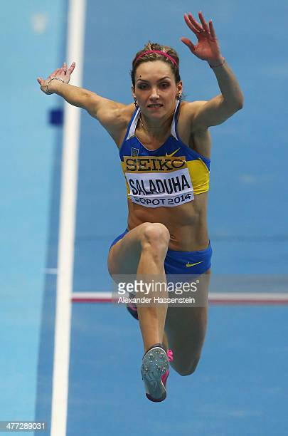 Olga Saladukha of Ukraine competes in the Women's Triple Jump Final during day two of the IAAF World Indoor Championships at Ergo Arena on March 8...