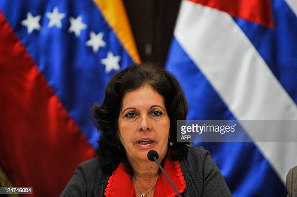 Olga Salanueva relative of Rene Gonzalez one of the Cuban Five speaks during a press conference in Caracas on September 12 2011 Relatives of five...