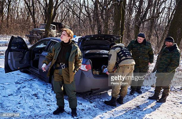 Olga Sergeevna also known as Corsa after an attack on Ukrainian positions with grad rockets on February 13 2015 in Debaltseve Ukraine Corsa is the...
